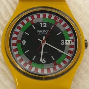 Original 1983 Swiss Swatch Yellow Racer Watch